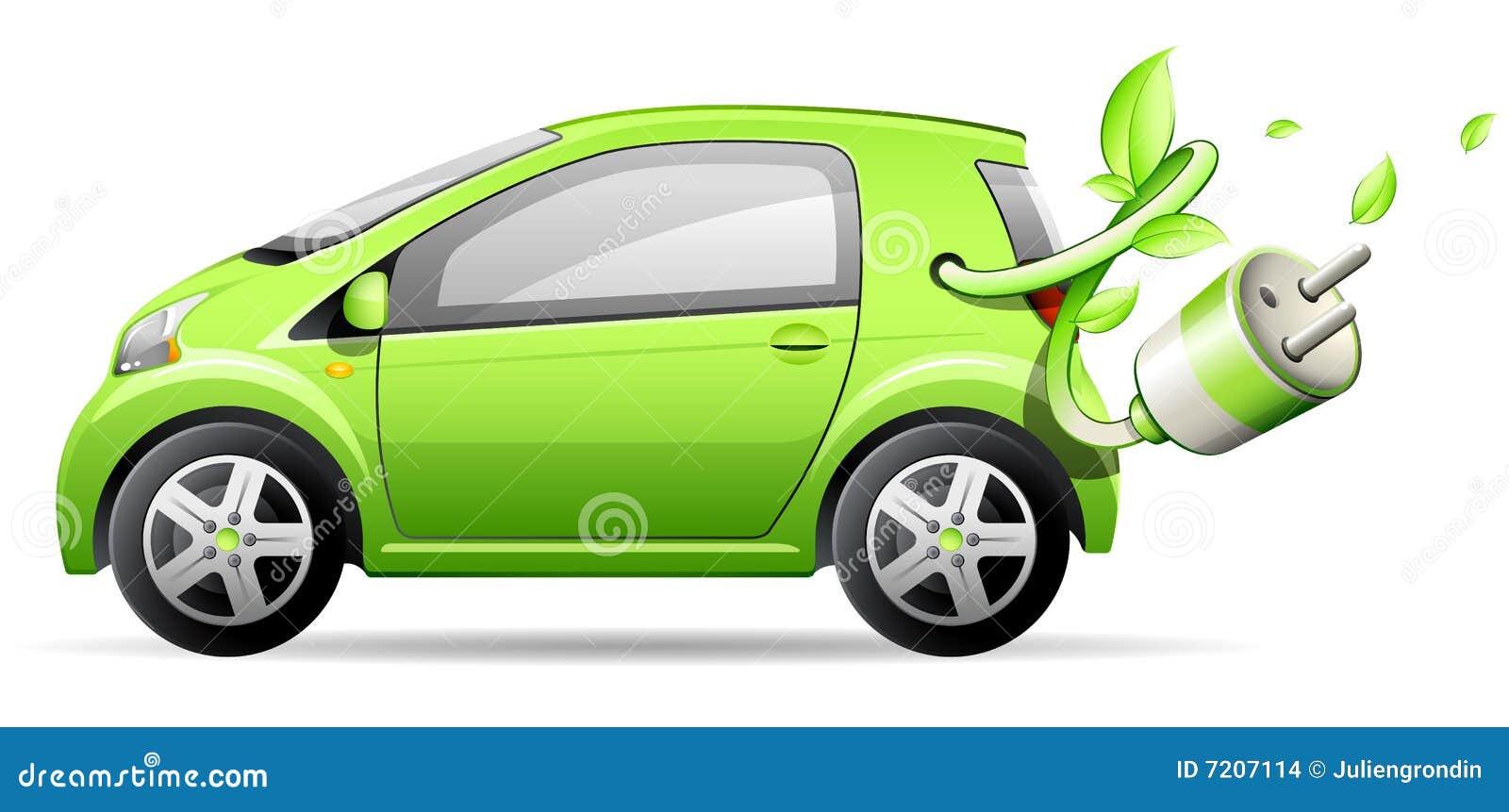 Coche eléctrico verde