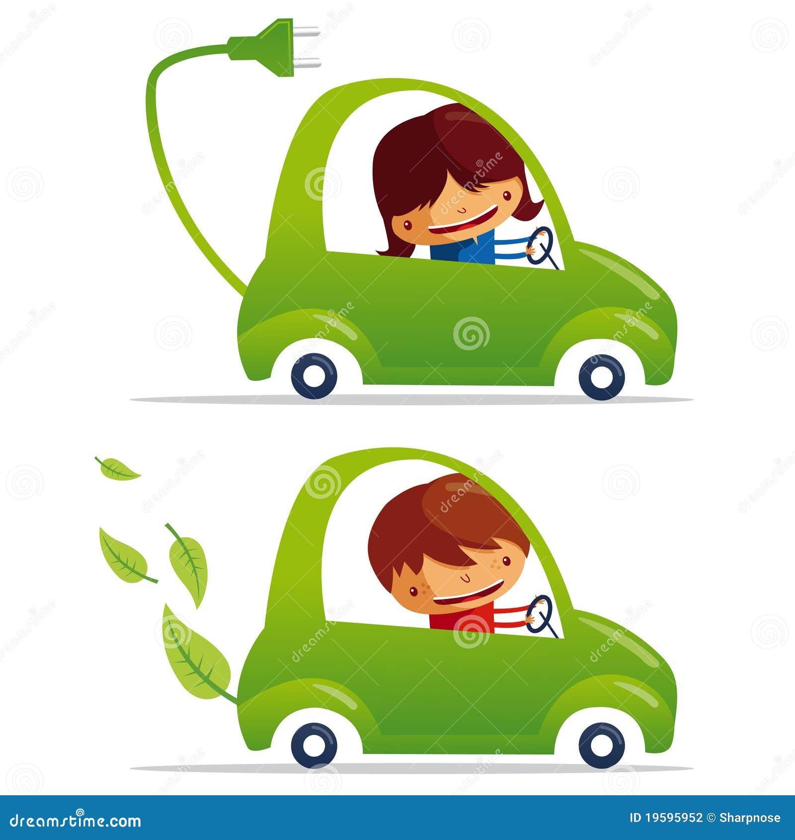 Coche eléctrico verde y coche verde