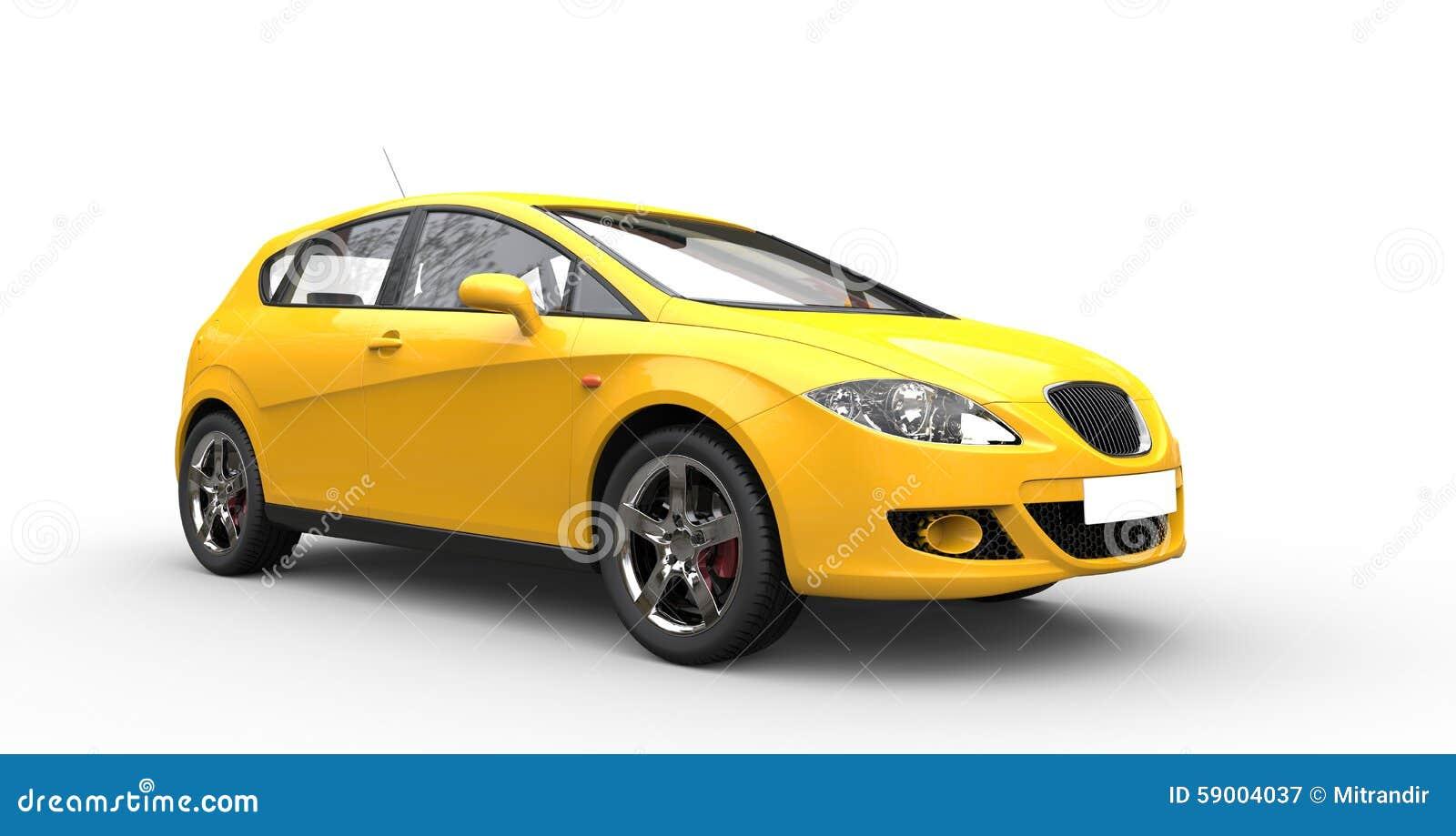 Coche familiar amarillo moderno