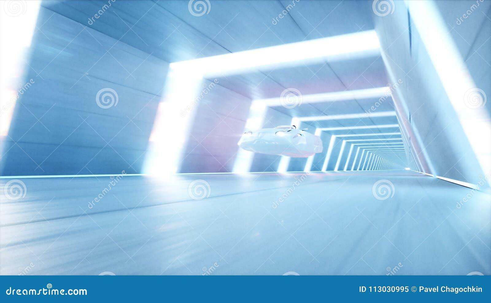 Coche futurista del vuelo con la conducción rápida de la mujer en el túnel del fi del sci, coridor Concepto de futuro representac