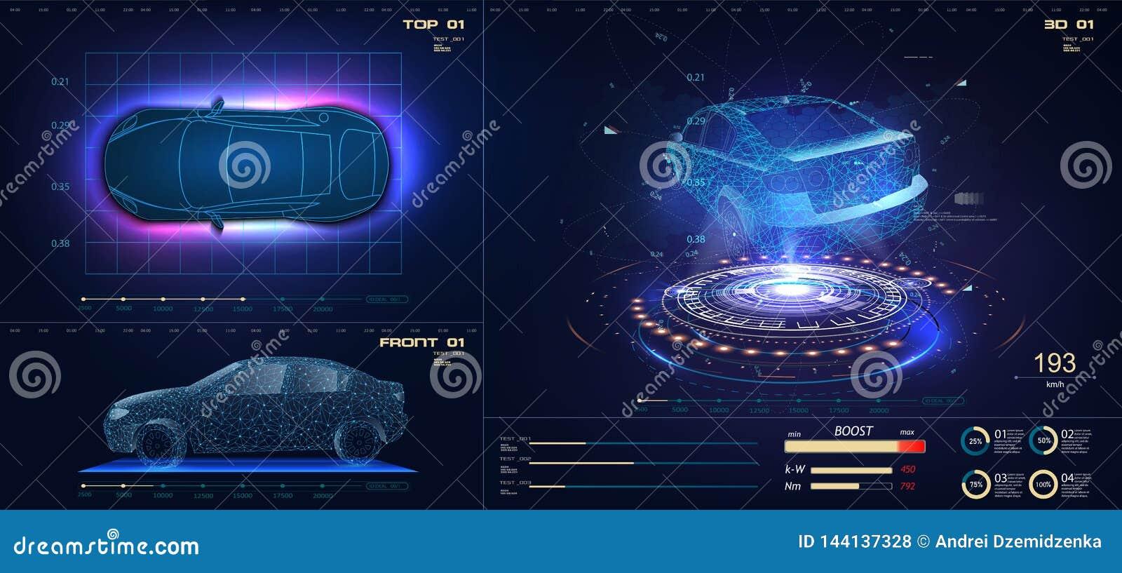 Coche futuro en estilo abstracto en fondo azul Dise?o de pantalla futurista del interfaz de HUD GUI UI del vector automotor