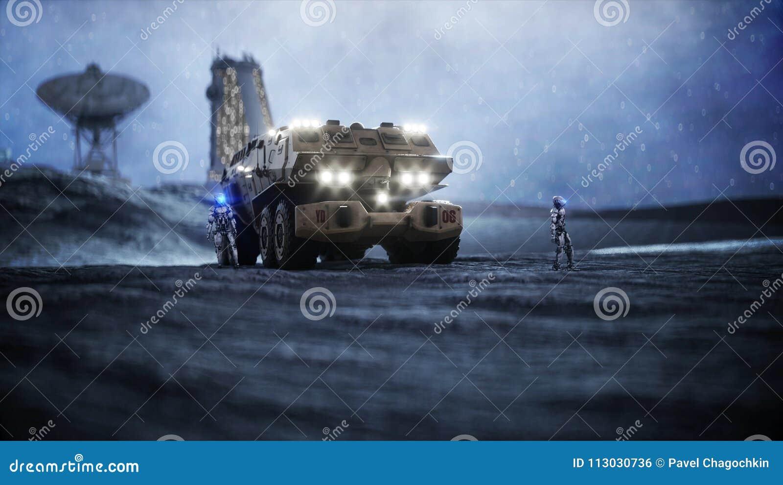 Coche militar en la luna con los robots Colonia de la luna Backround de la tierra representación 3d