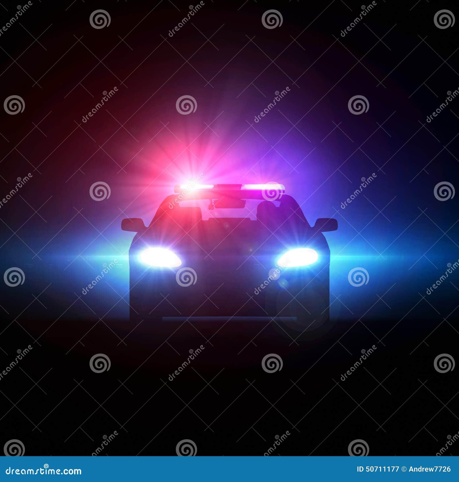 Coche policía perseguido en la oscuridad