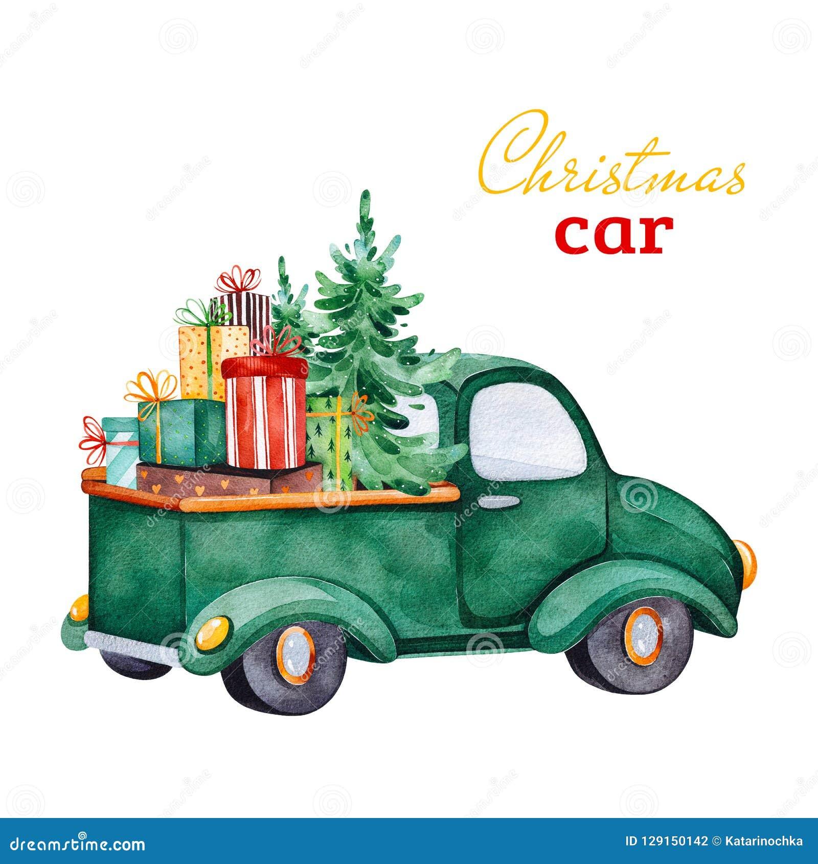 Coche retro abstracto de la Navidad con el árbol de navidad, los regalos y otras decoraciones