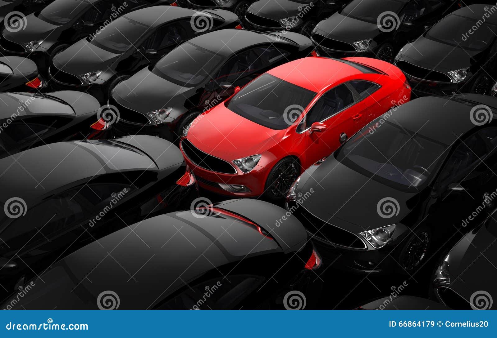 Coche rojo rodeado por los coches negros