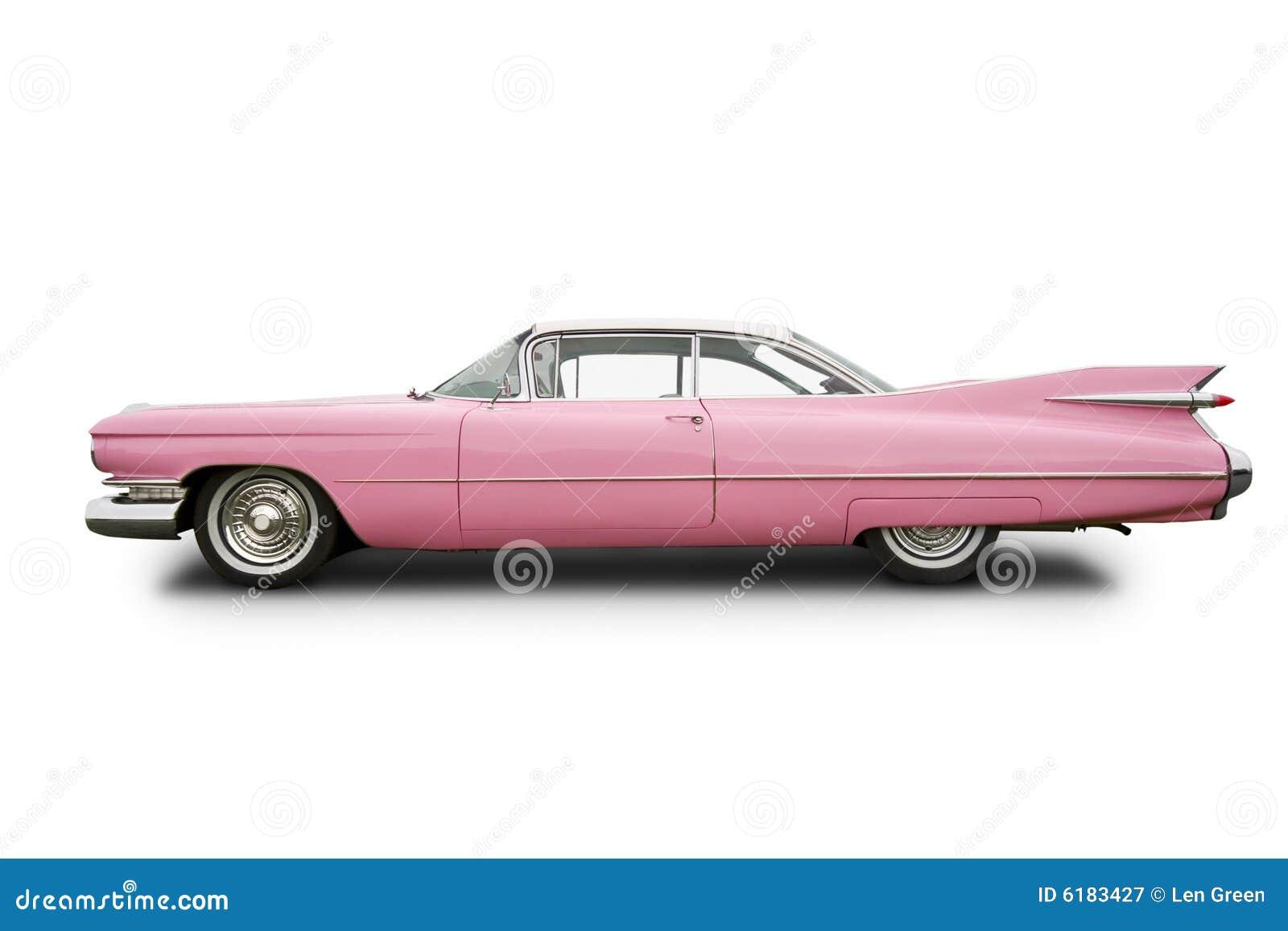 Coche rosado de la obra clásica de cadillac