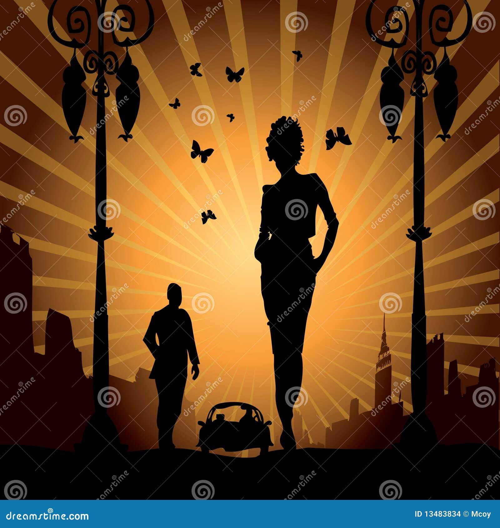 Coche urbano de la mujer del hombre del amor libre de la ciudad