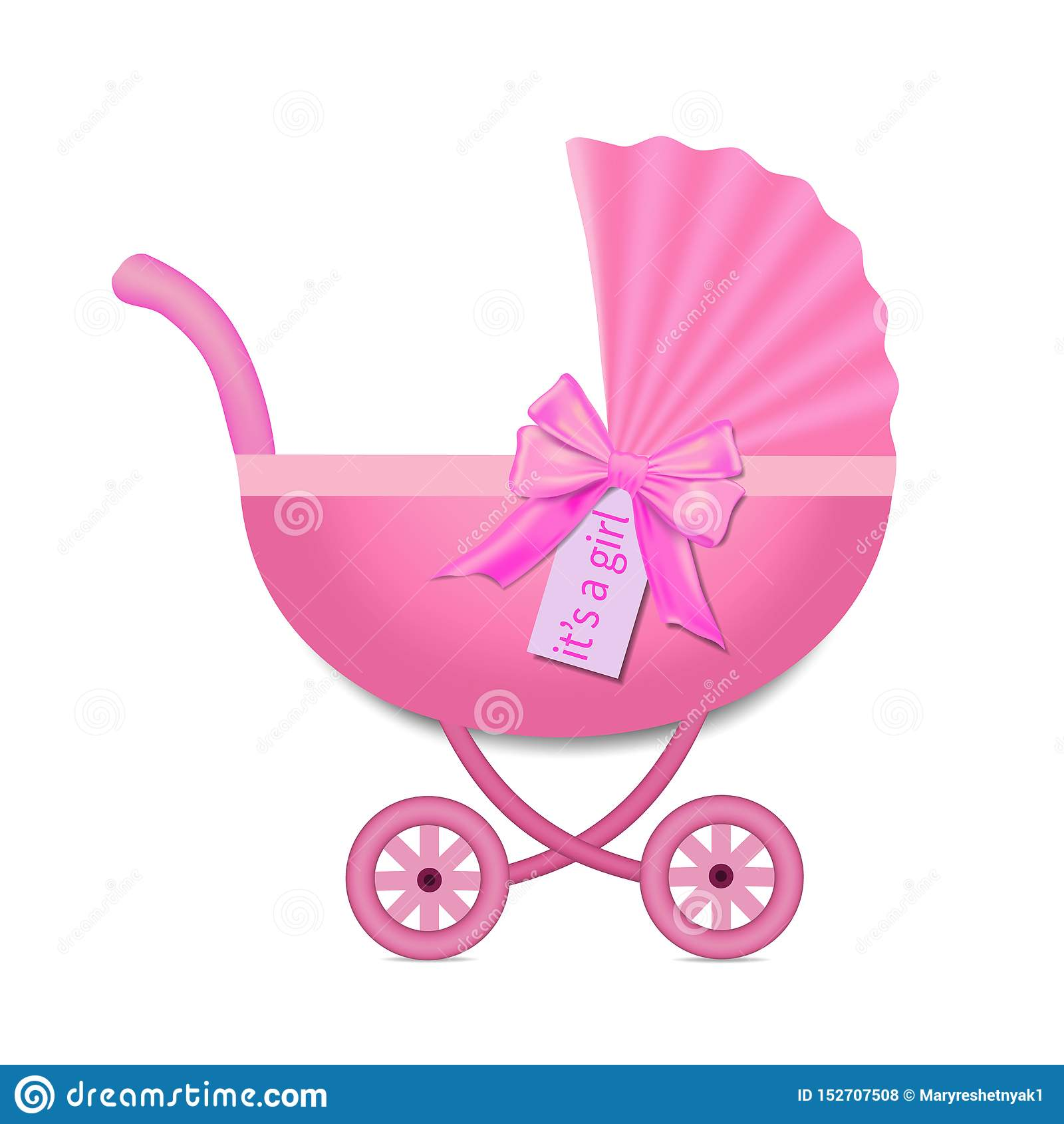 Cochecito rosado con un arco para el bebé Invitaci?n de la fiesta de bienvenida al beb? Carro de bebé en estilo realista en fondo
