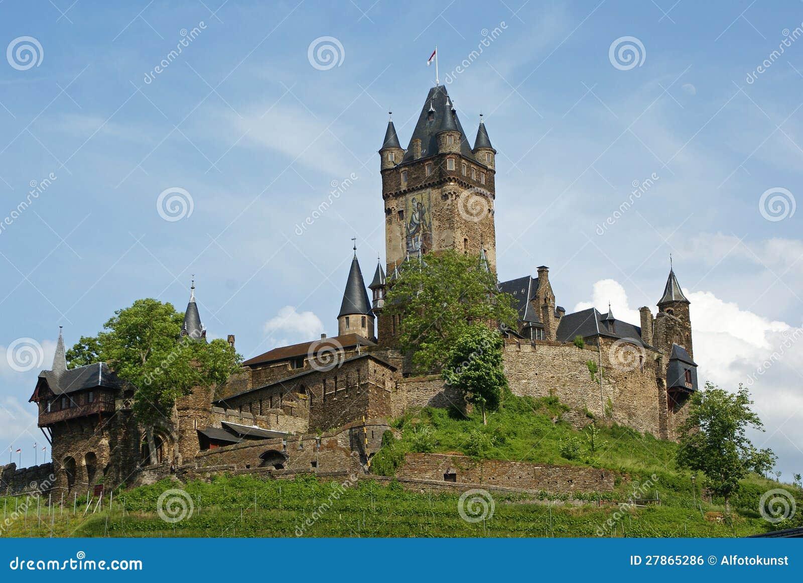 Cochem Kasztel, Mosel Rzeka, Niemcy, Europa