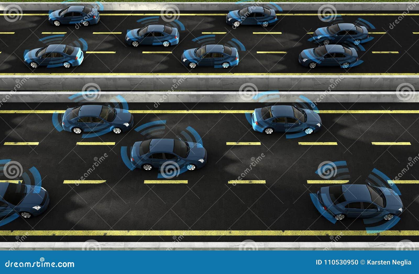 Coches autónomos en un camino con la conexión visible