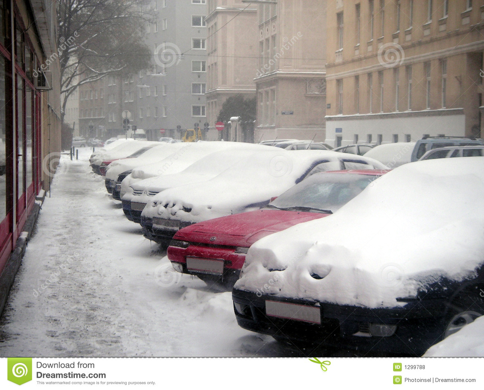 Coches bajo nieve