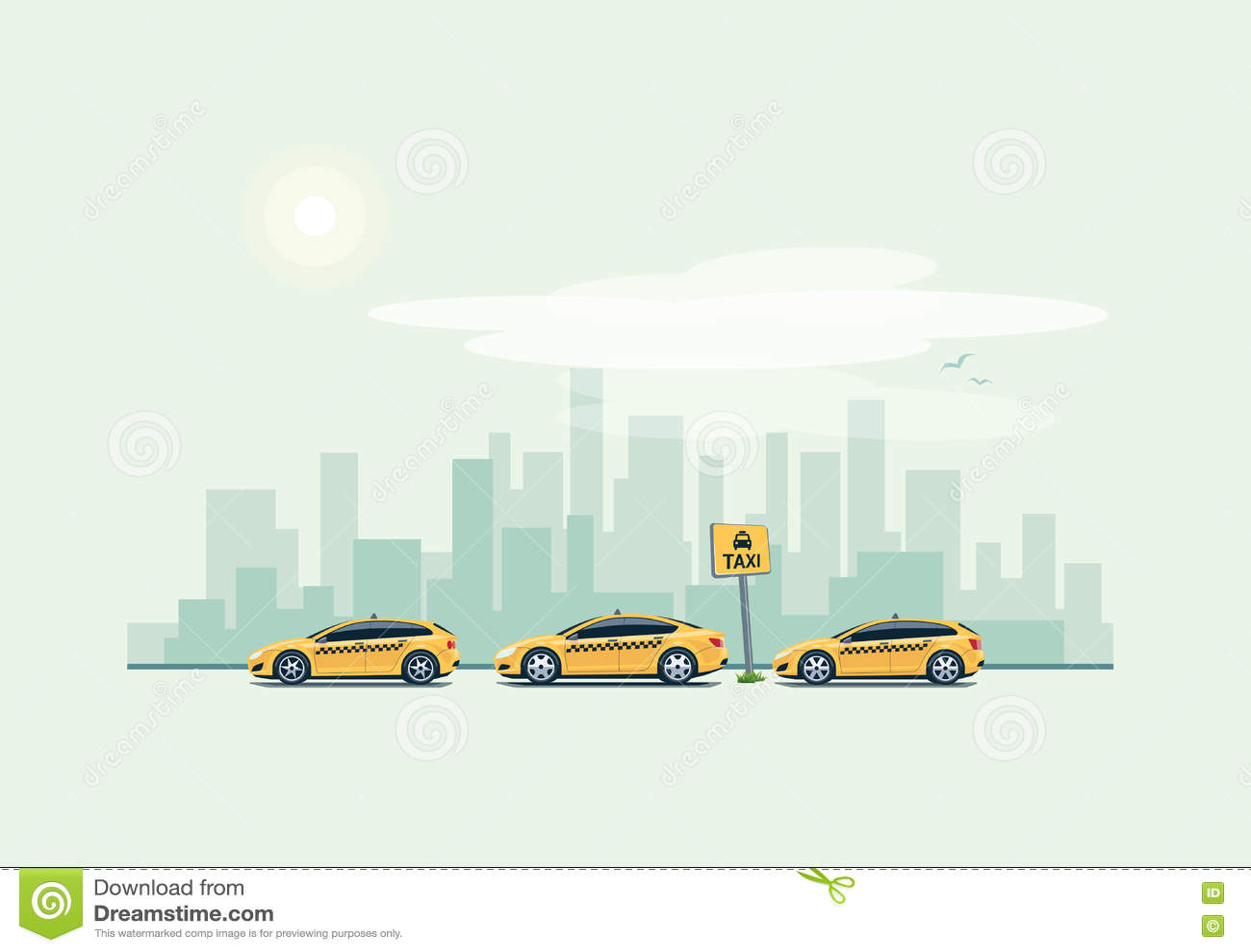 Coches del taxi del estacionamiento y fondo de la ciudad
