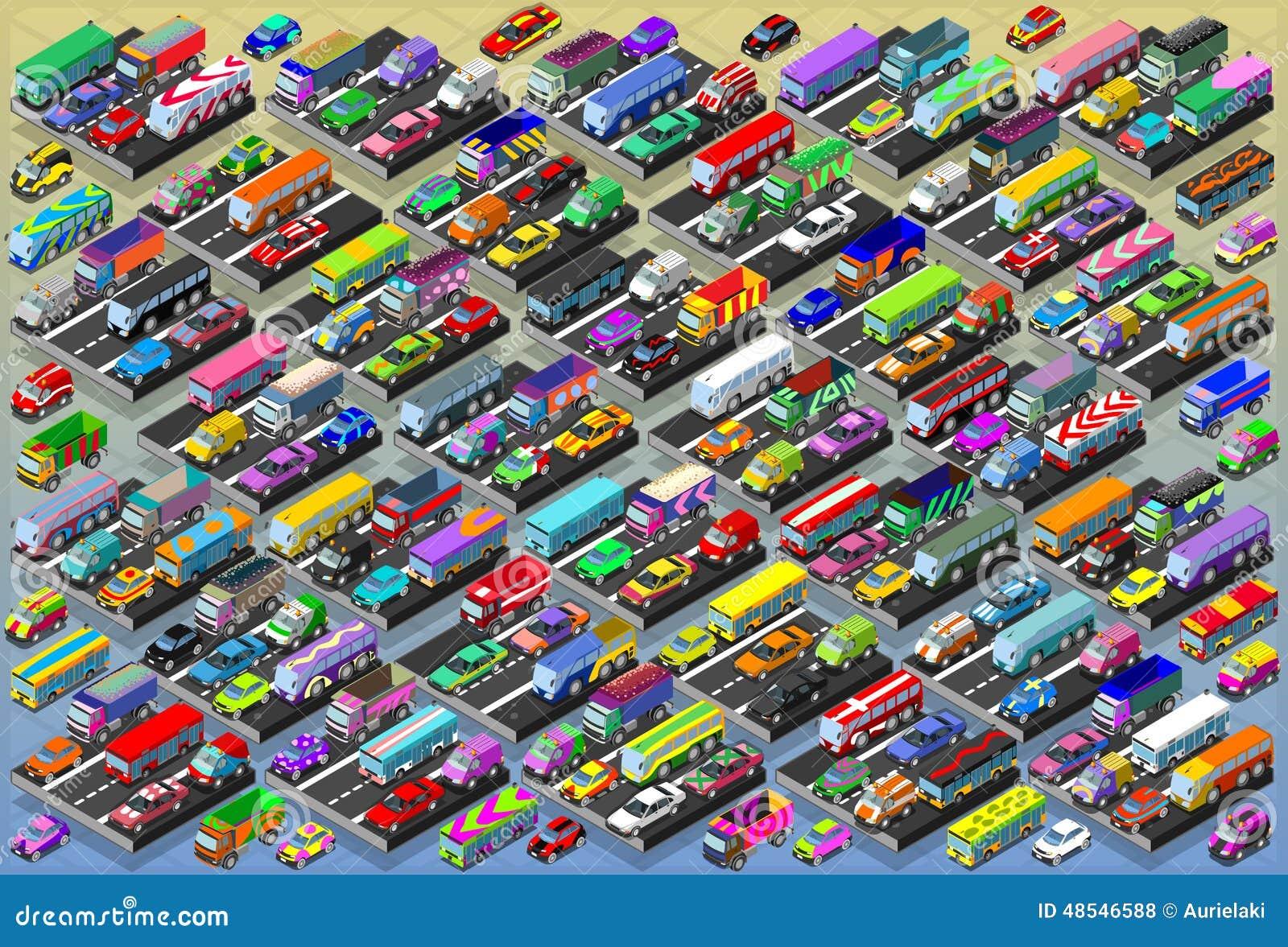 Coches isométricos, autobuses, camiones, furgonetas, colección mega toda adentro
