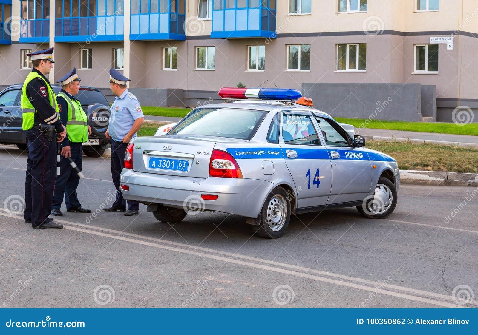 Coches Patrulla Rusos De La Policía De La Inspección Del Automóvil ...
