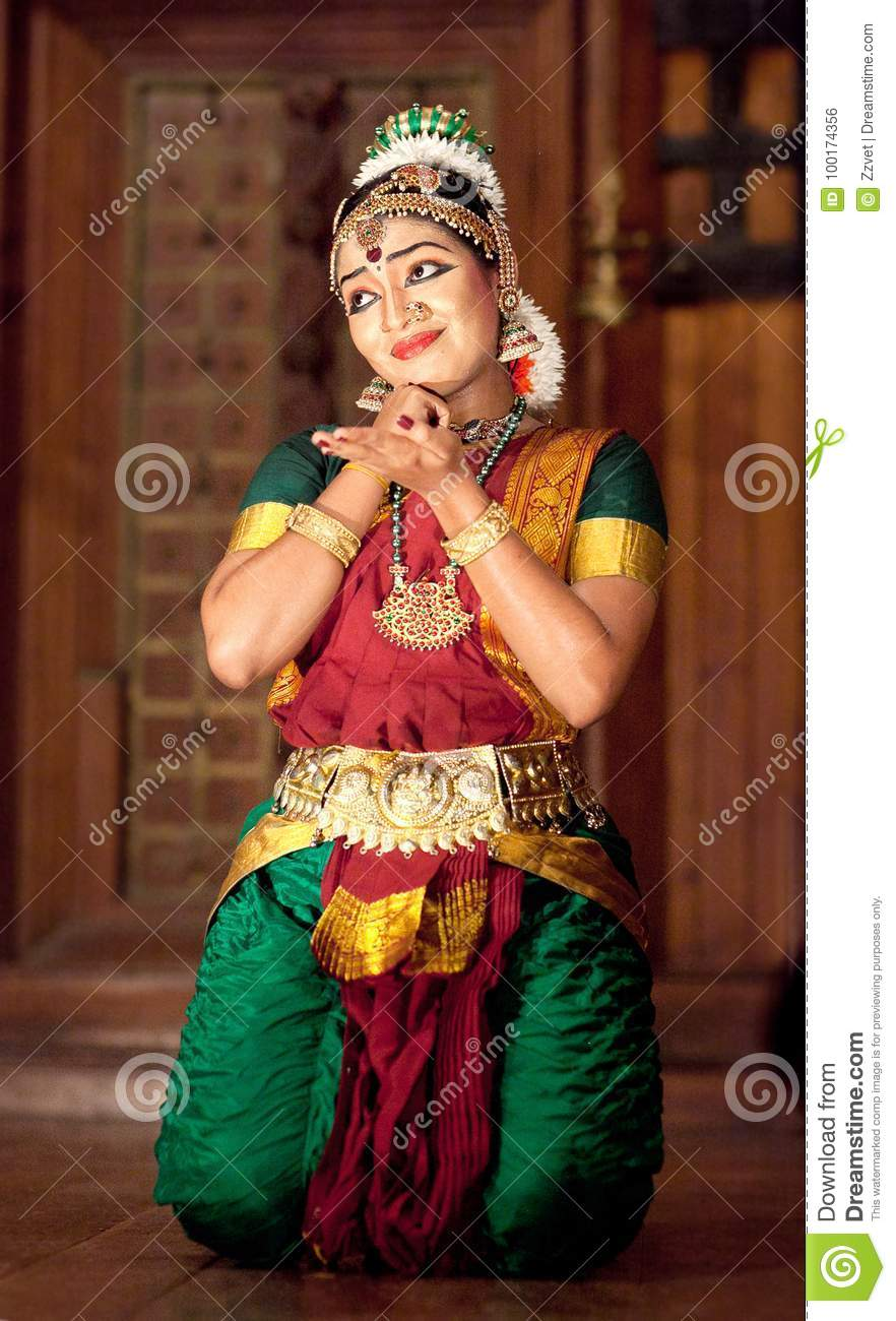 Beautiful Indian Girl Dancing Kuchipudi Indian Dance -2588