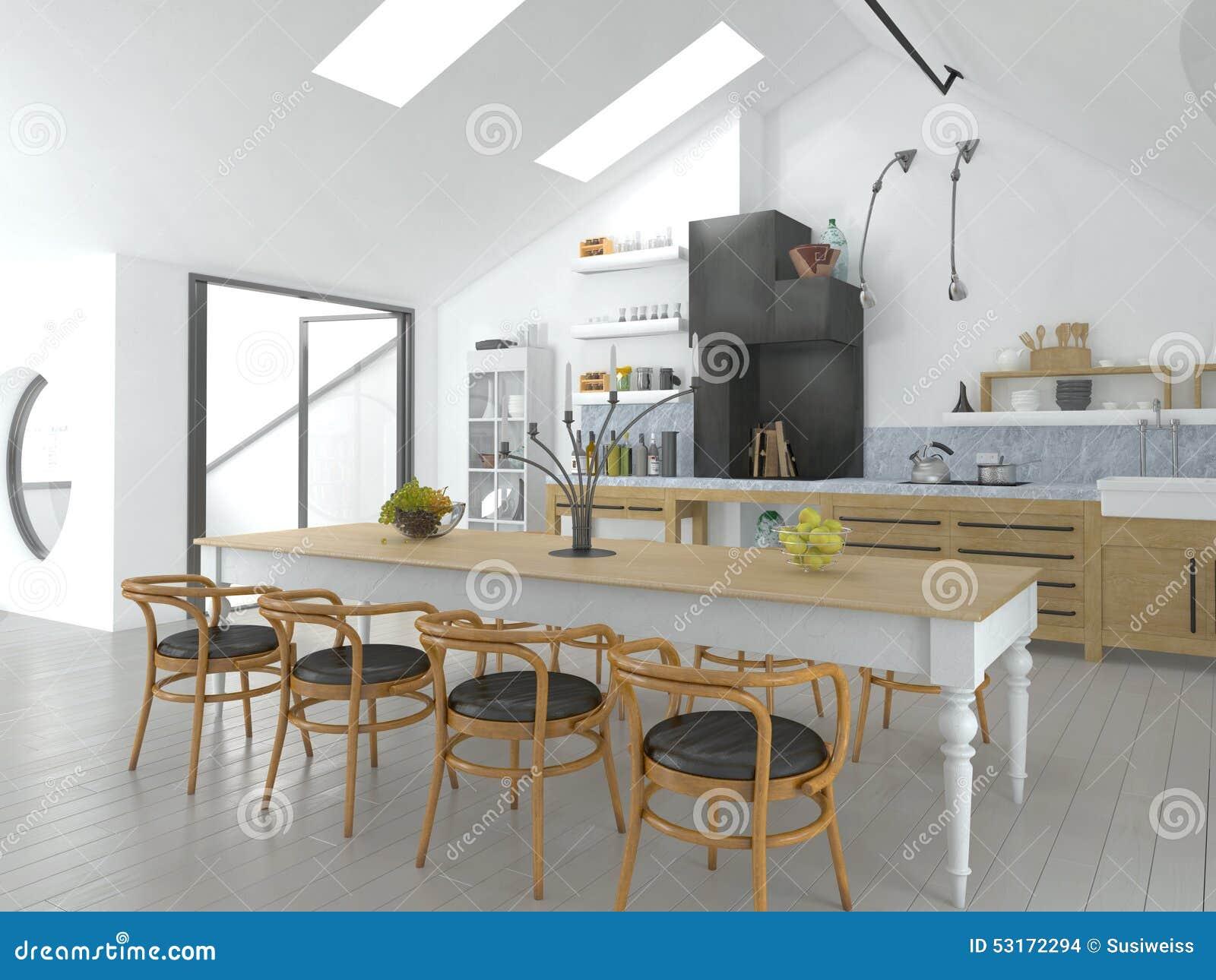 cocina abierta brillante y comedor del concepto stock de