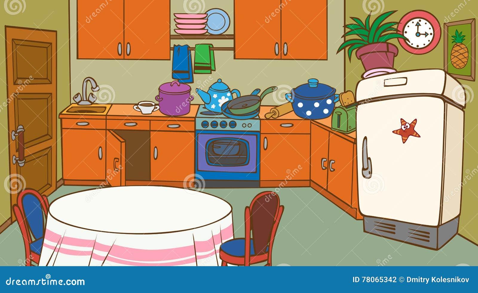 Cocina animada de la historieta stock de ilustraci n for Cocina y refrigerador juntos