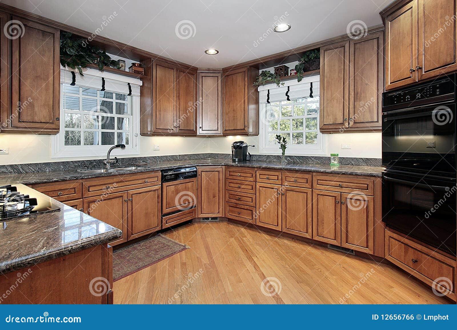Cocina artesonada madera moderna foto de archivo imagen 12656766 - Suelos para cocinas modernas ...