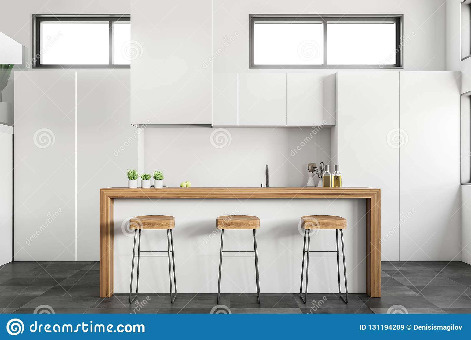 fotos de cocina blanca Cocina Blanca Con La Barra Stock De Ilustracin Ilustracin