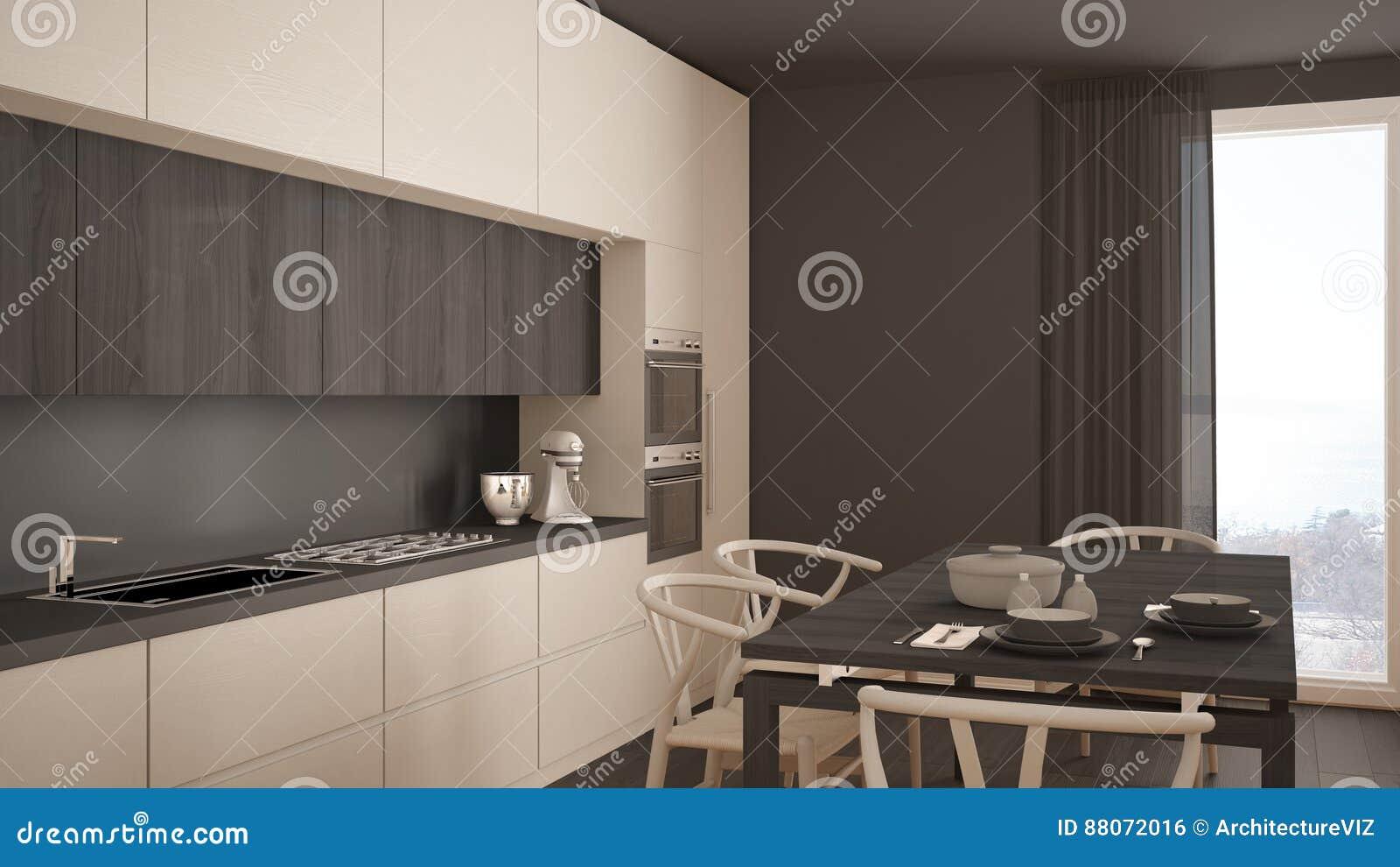 Cocina Blanca Mínima Moderna Con El Piso De Madera Interior Clásico
