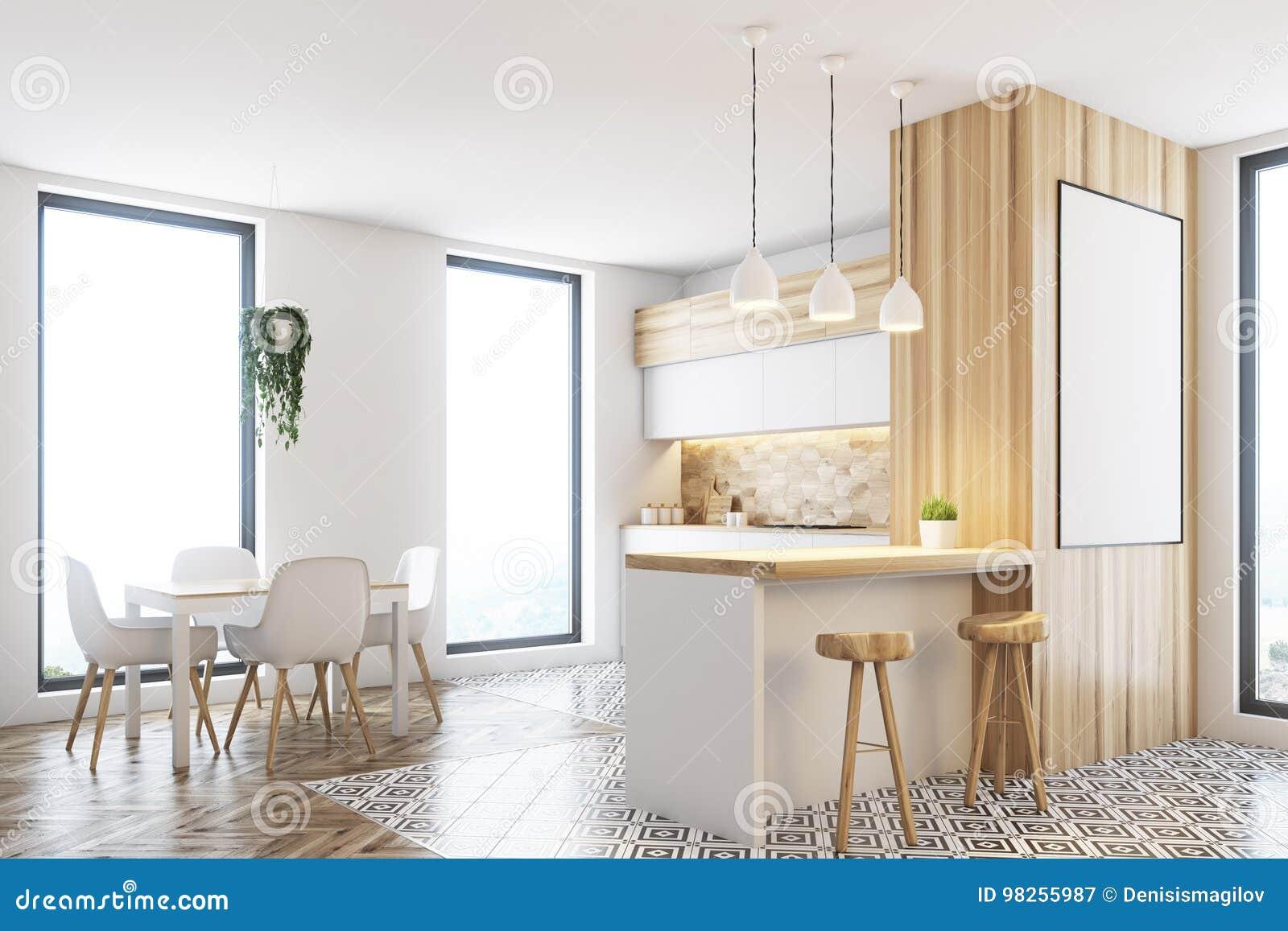 Cocina Blanca Y De Madera Moderna Cartel Stock De Ilustración