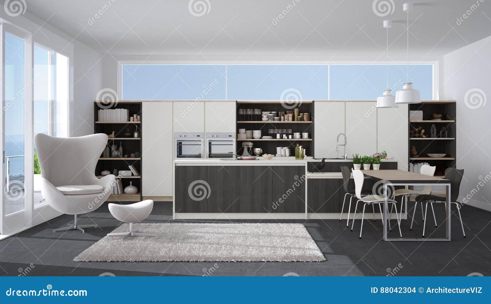 Cocina Blanca Y Gris Moderna Con Los Detalles De Madera Wi  ~ Cocinas Modernas Blancas Y Grises