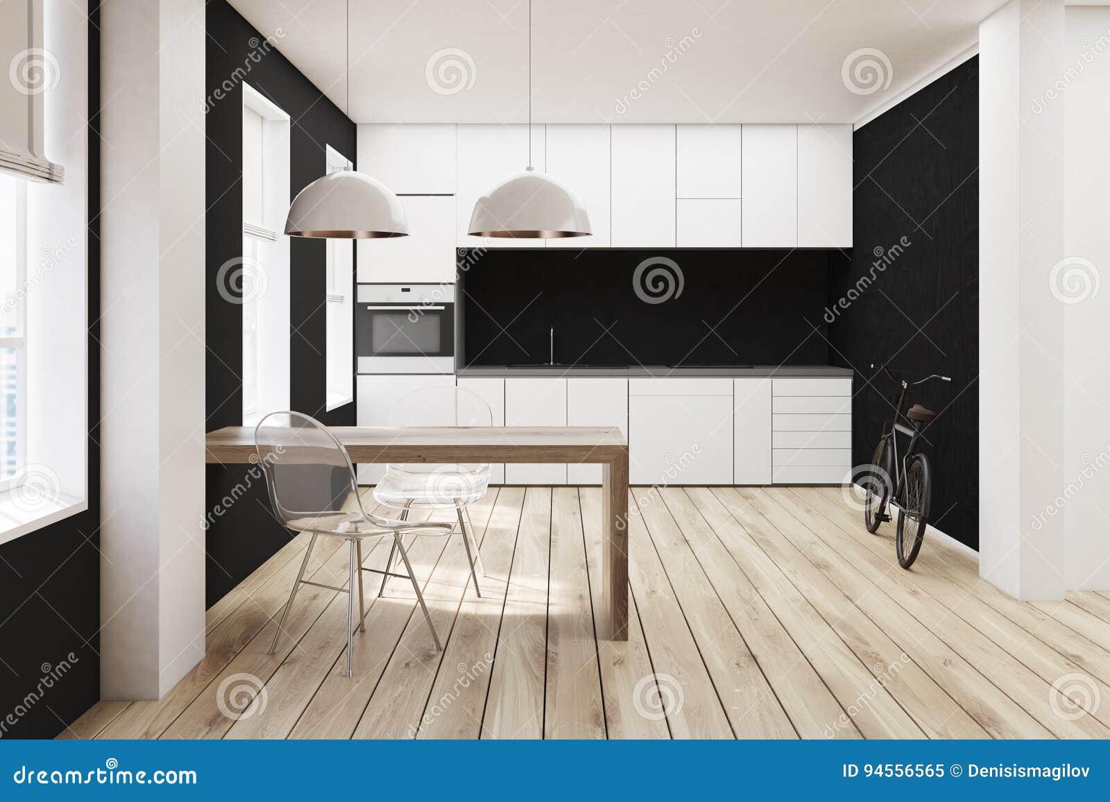 Cocina Blanca Y Negra, Piso De Madera Stock de ilustración ...