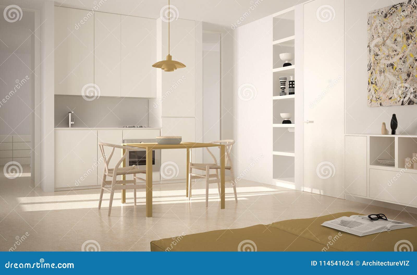Cocina brillante moderna minimalista con la mesa de comedor y sillas, diseño interior grande de las ventanas, blanca y amarilla d