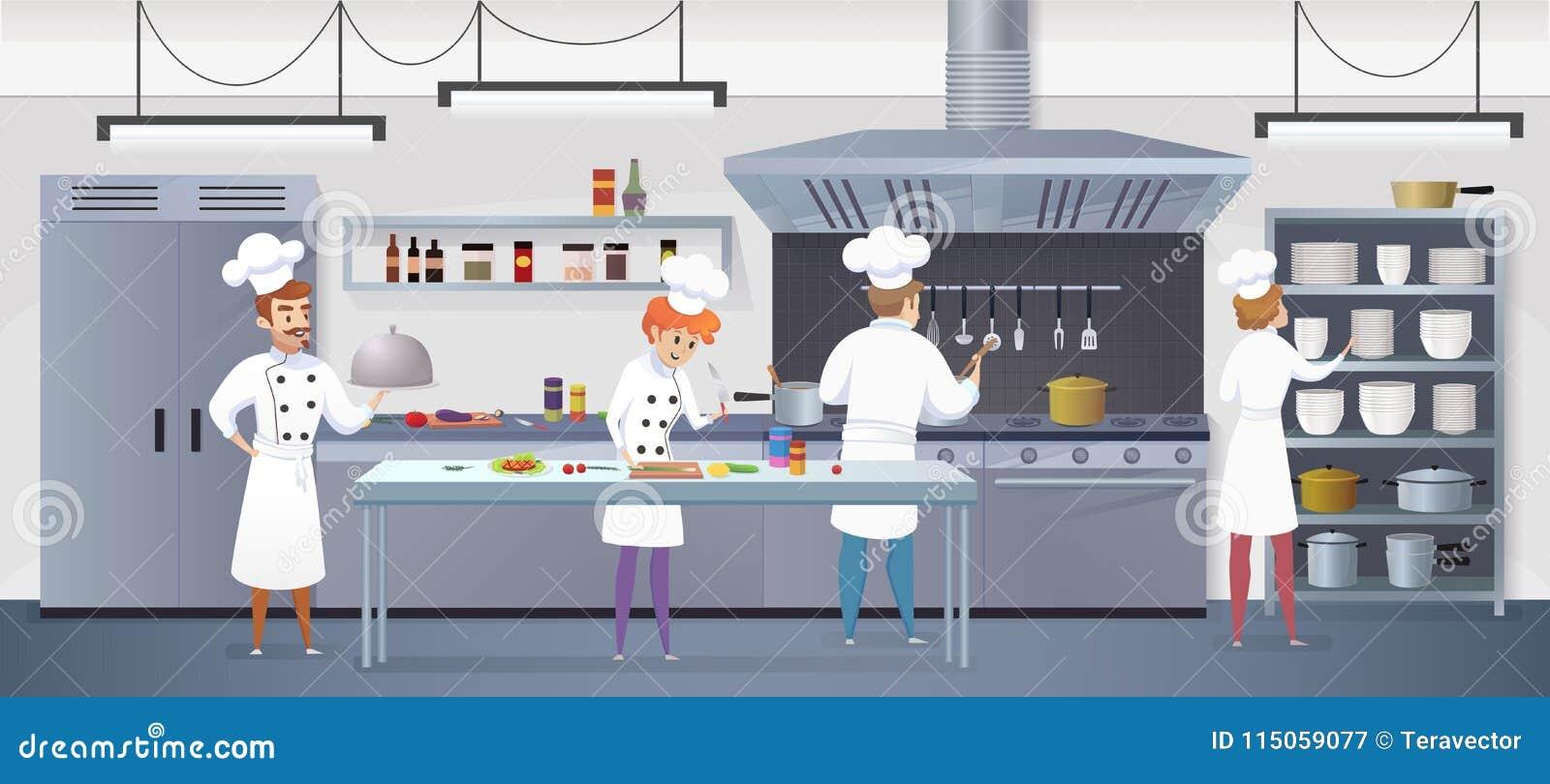 Cocina Comercial Con El Cocinero De Los Personajes De Dibujos