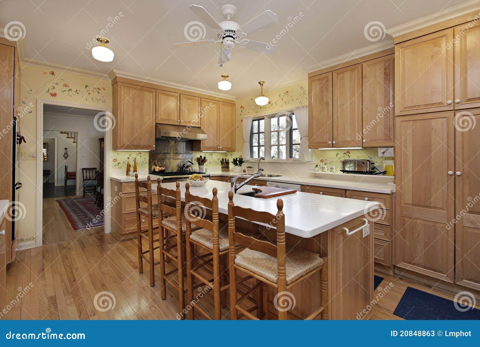 Cocina con cabinetry de madera de roble fotos de archivo for Cocinas de madera de roble