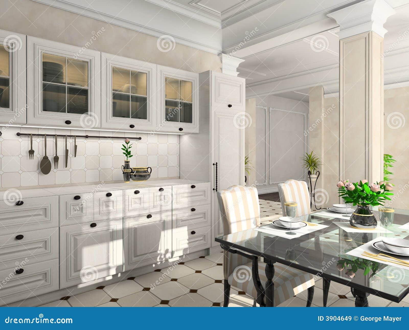 Cocina Con Los Muebles Clásicos Stock de ilustración - Ilustración ...