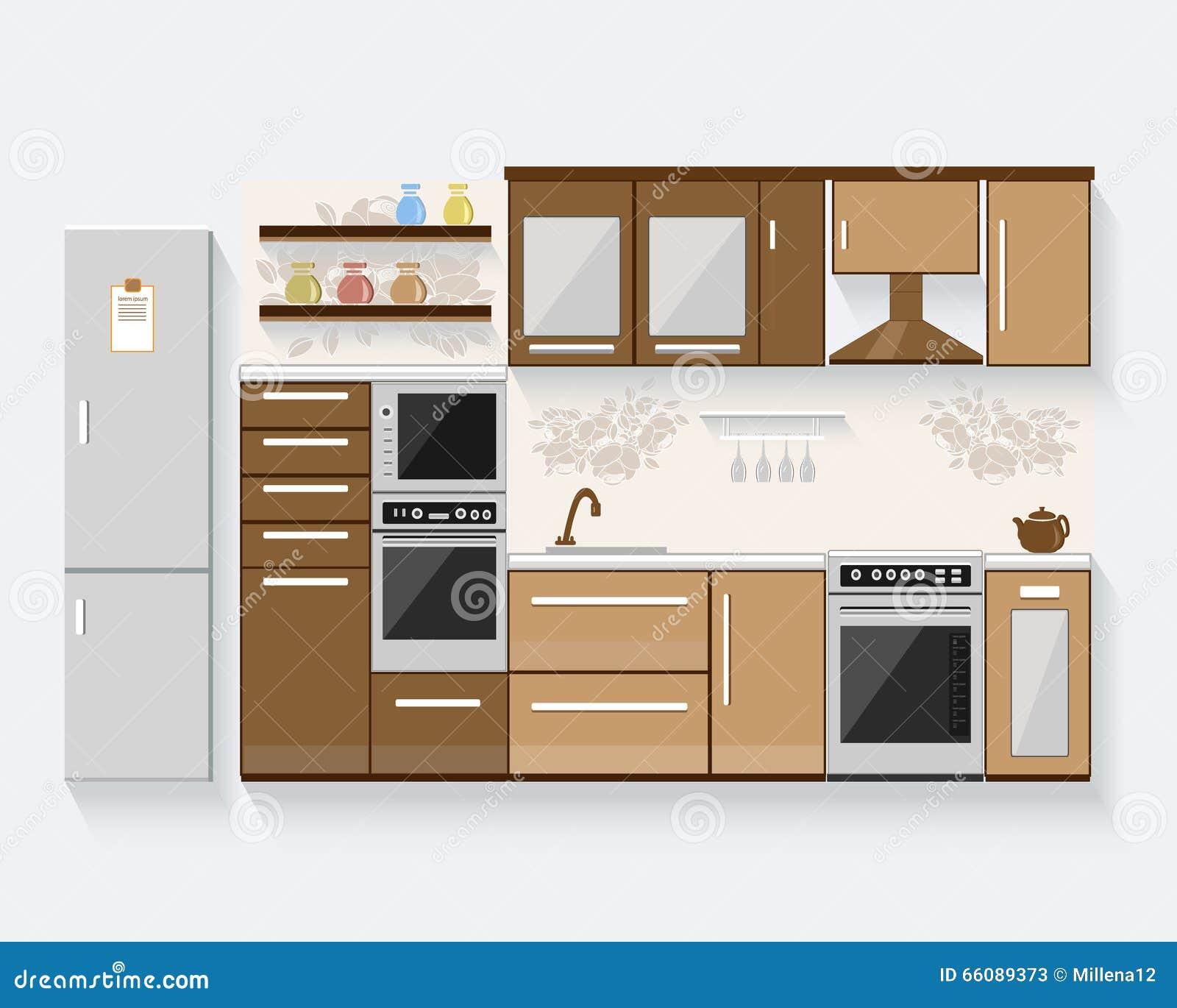 Cocina con muebles y sombras largas ejemplo plano del for Disenos de muebles de cocina colgantes