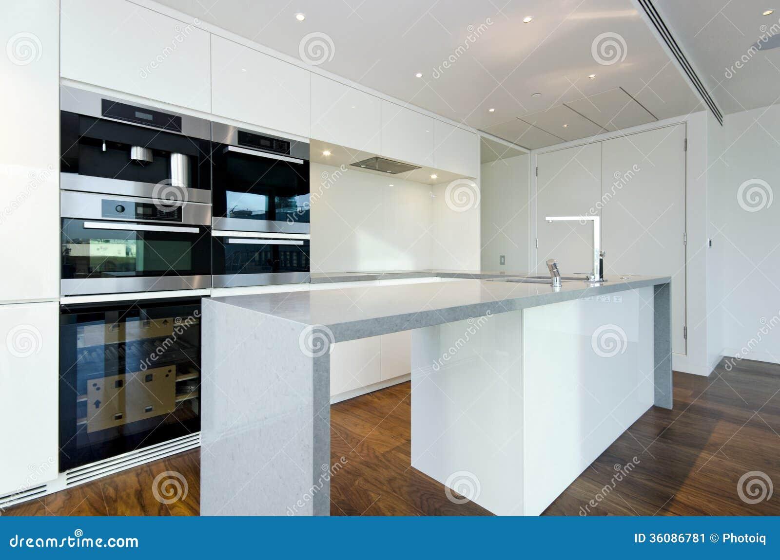 Cocina contemporánea con los dispositivos superiores de espec.