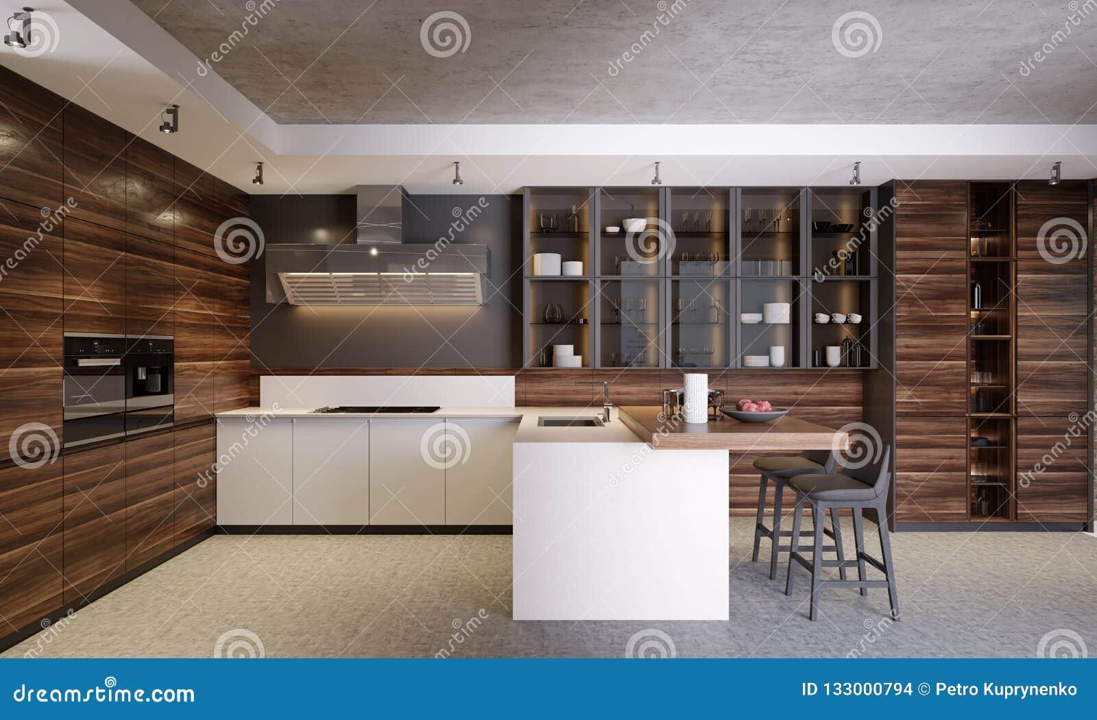 Cocina Contemporanea De Madera Oscura Moderna Interior Con Los