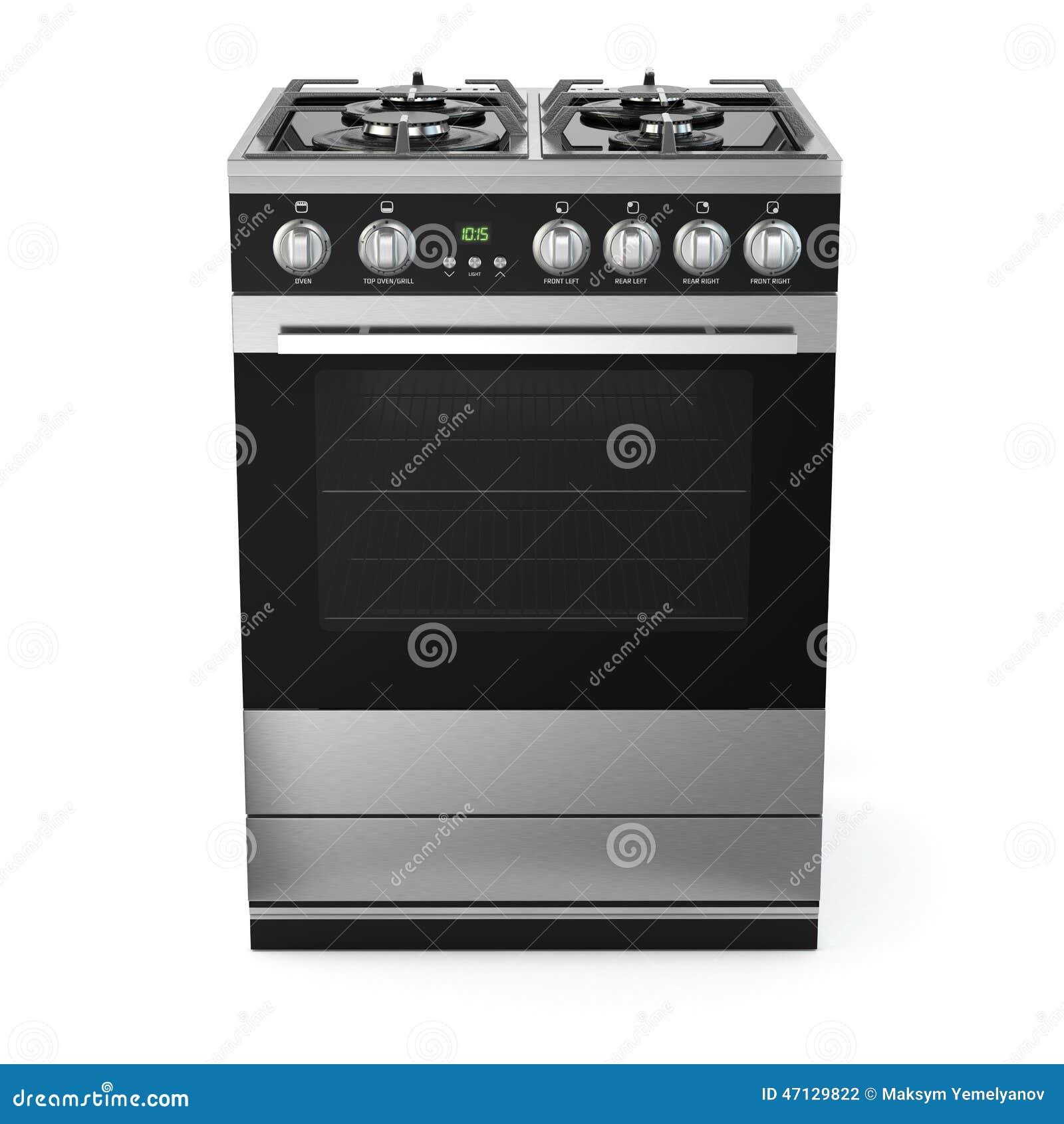 Cocina De Gas Del Acero Inoxidable Con El Horno Aislado En Blanco ...