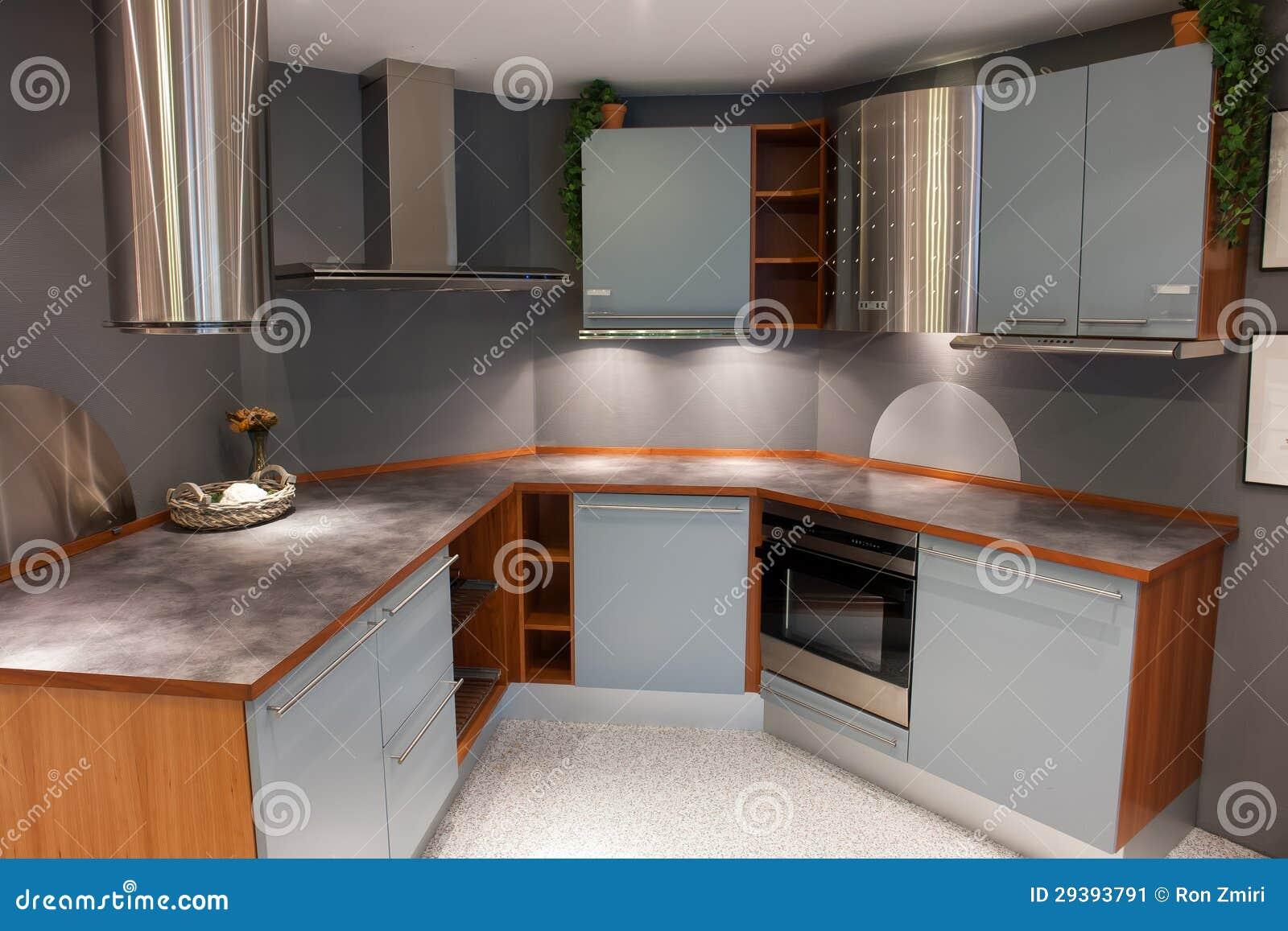 Cocina de madera azul clara del dise o de moda moderno - Cocina diseno moderno ...