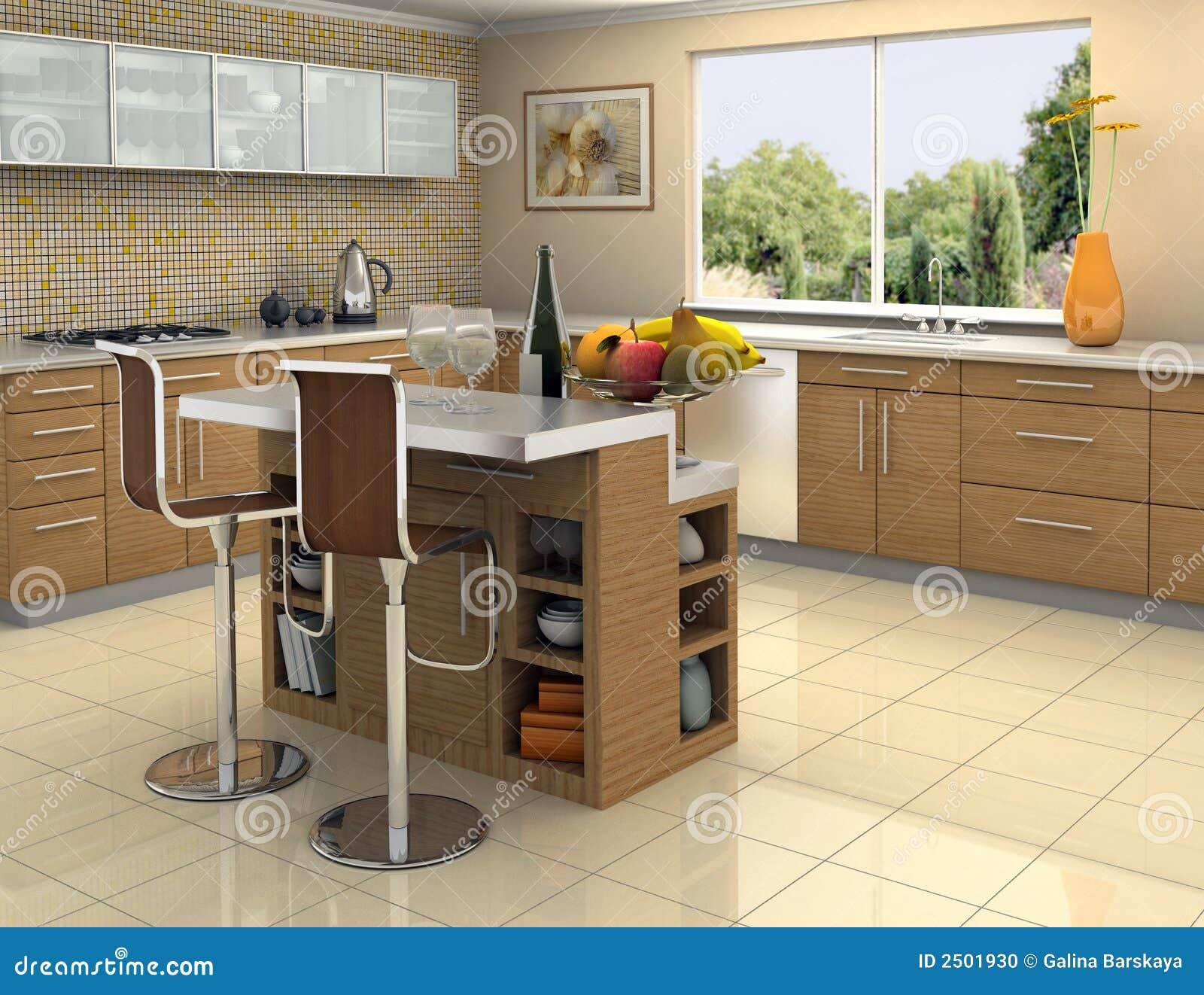 Cocina de madera y de acero foto de archivo imagen 2501930 for Cocinas integrales de madera con isla