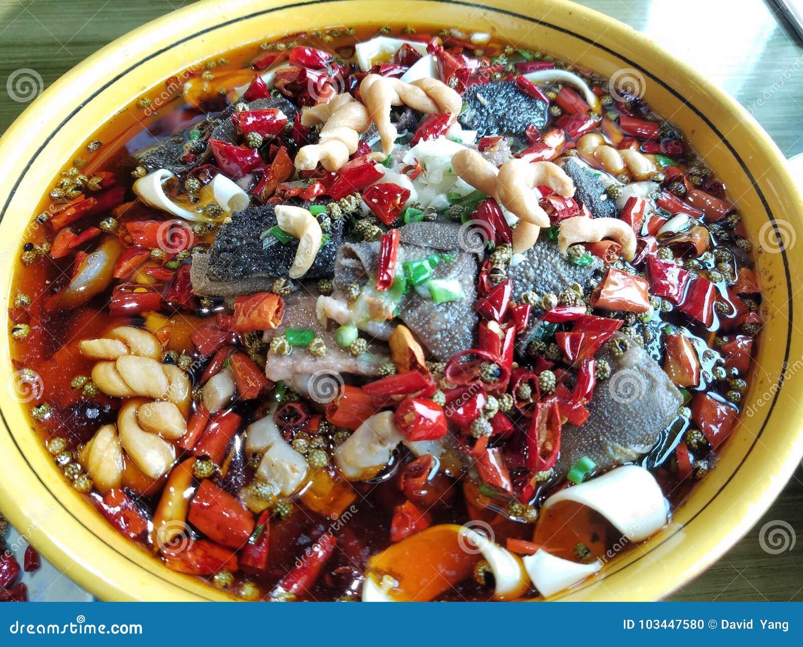 Cocina De Sichuan Del Chino, Sangre Herida Wang Foto de archivo ...