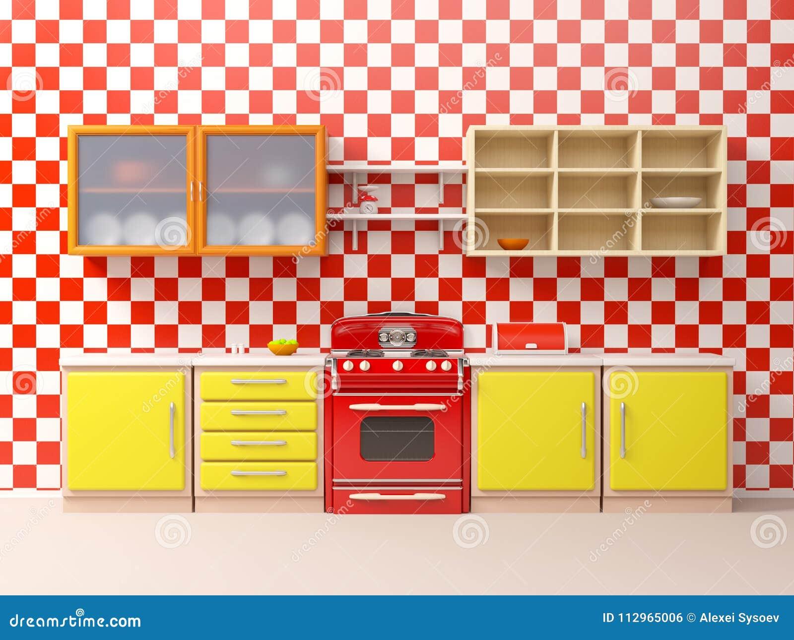 Cocina Del Vintage 50s Plana Stock De Ilustración