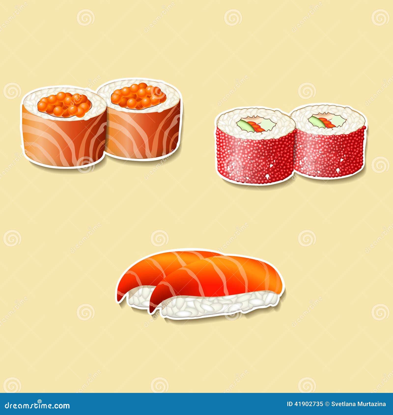 Cocina japonesa, sushi con los pescados, huevas