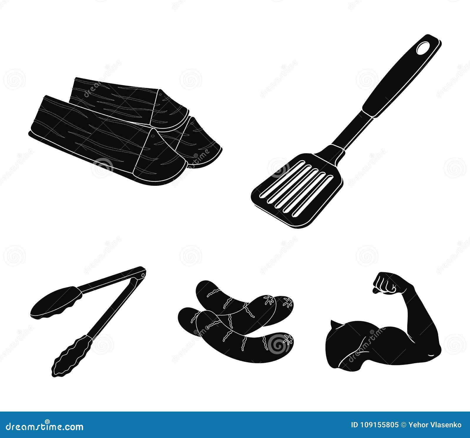 Cocina, leña, salchichas y otra de la cuchilla para la barbacoa Los iconos determinados de la colección del Bbq en estilo negro v