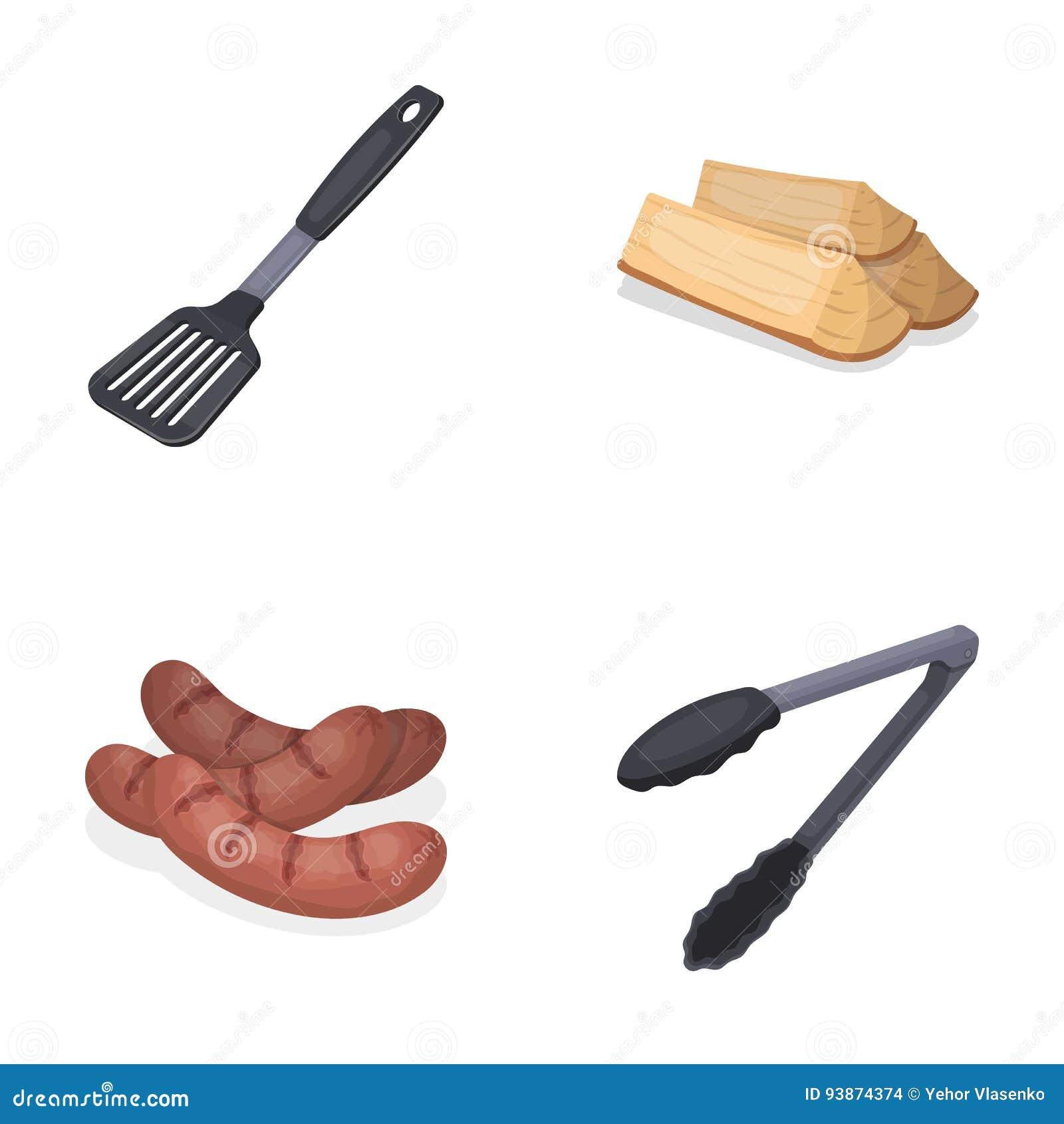 cocina lea salchichas y otra de la cuchilla para la barbacoa los iconos de la coleccin del bbq en estilo de la h
