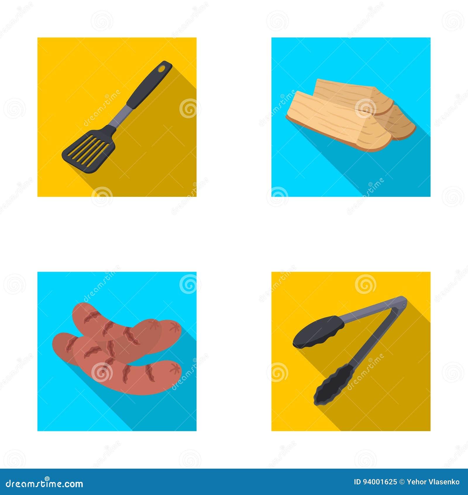 Cocina, leña, salchichas y otra de la cuchilla para la barbacoa Los iconos determinados de la colección del Bbq en estilo plano v