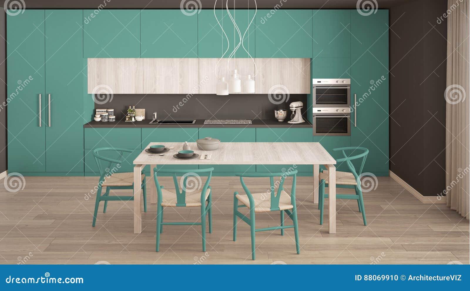 Cocina m nima moderna de la turquesa con el piso de madera for Pisos para cocina moderna