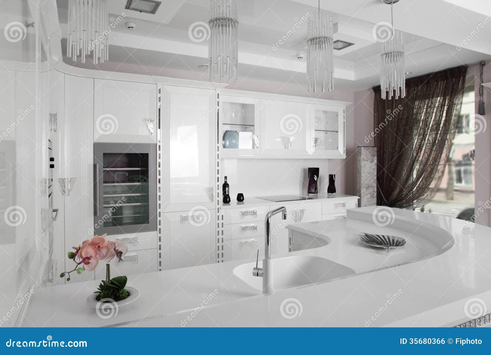 Cocina moderna blanco y negro con muebles elegantes foto for Cocinas elegantes