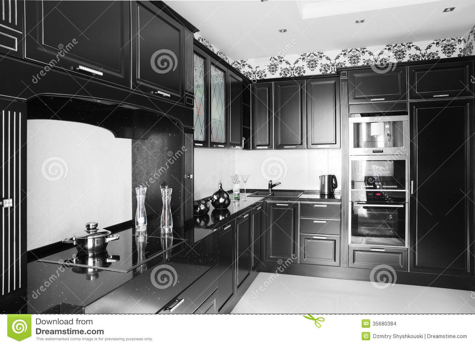 Cocina moderna blanco y negro con muebles elegantes - Cocinas con muebles blancos ...