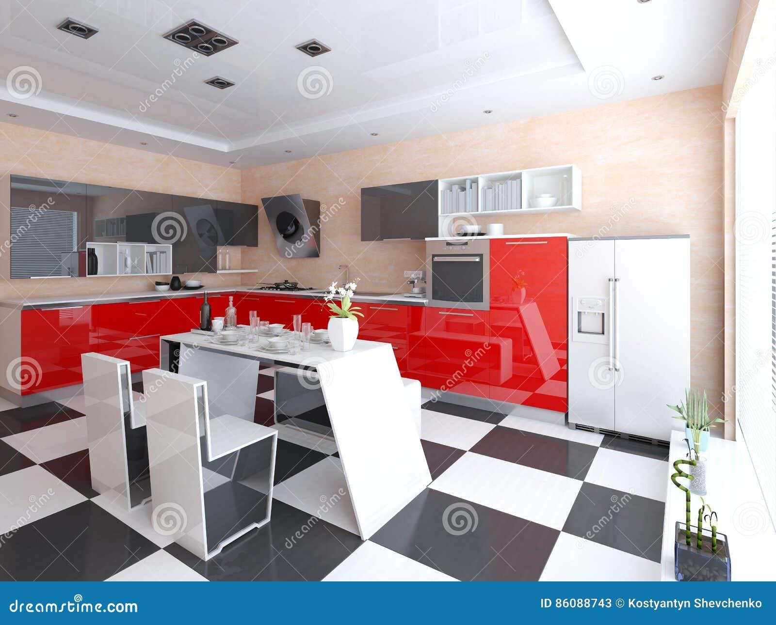 Cocina Moderna Brillante Con Muebles Funcionales Stock De  # Muebles Funcionales