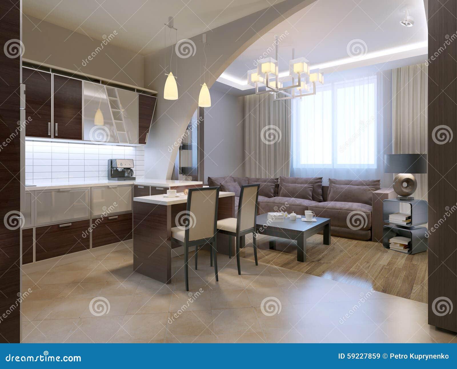 Download Cocina Moderna Con El Salón En Fondo Stock de ilustración - Ilustración de marrón, contemporáneo: 59227859