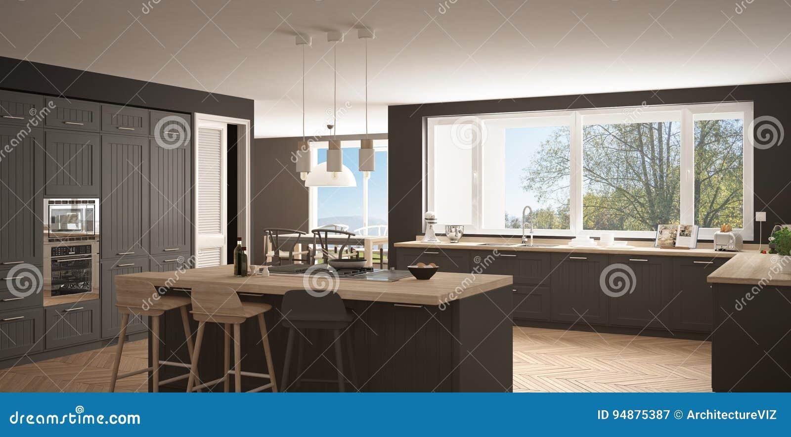 Cocina Moderna Con Las Ventanas Grandes Wh De De La Obra Clsica Del  Panorama With Cocina