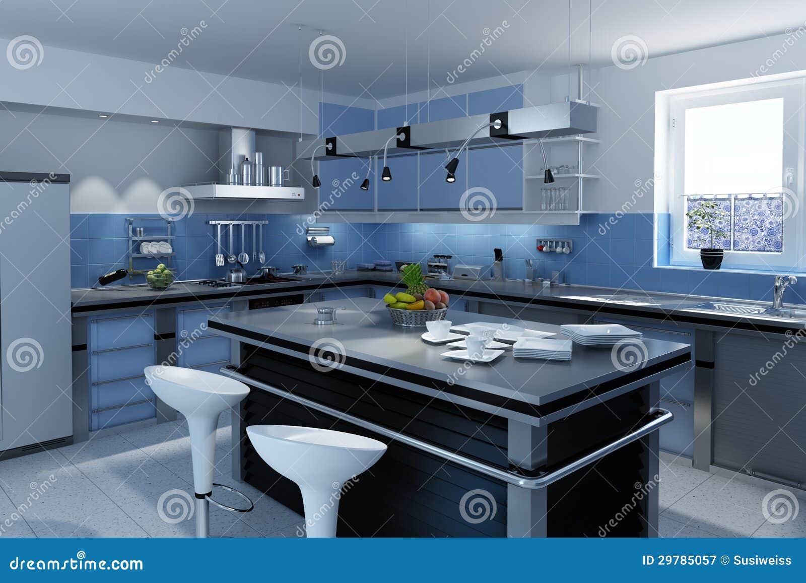 Cocina Moderna Azul Fotograf A De Archivo Libre De